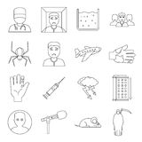 Phobia symbols icons set, outline style. Phobia symbols icons set. Outline illustration of 16 phobia symbols vector icons for web Stock Photography