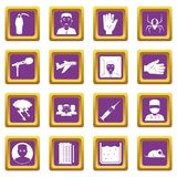 Phobia symbols icons set purple. Phobia symbols icons set in purple color isolated vector illustration for web and any design Stock Image