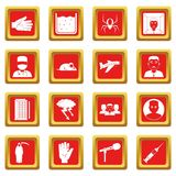 Phobia symbols icons set red. Phobia symbols icons set in red color isolated vector illustration for web and any design Royalty Free Stock Photo
