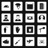 Phobia symbols icons set squares vector. Phobia symbols icons set in white squares on black background simple style vector illustration Stock Photos