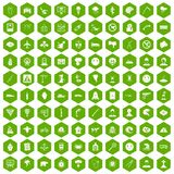 100 phobias icons hexagon green. 100 phobias icons set in green hexagon isolated vector illustration Stock Illustration