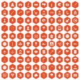 100 phobias icons hexagon orange. 100 phobias icons set in orange hexagon isolated vector illustration Stock Photo