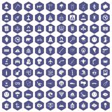 100 phobias icons hexagon purple Stock Image