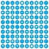 100 phobias icons set blue. 100 phobias icons set in blue hexagon isolated vector illustration Royalty Free Illustration