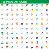 100 phobias icons set, cartoon style. 100 phobias icons set in cartoon style for any design vector illustration Royalty Free Stock Photo