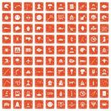 100 phobias icons set grunge orange. 100 phobias icons set in grunge style orange color isolated on white background vector illustration Stock Images