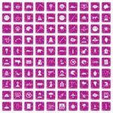100 phobias icons set grunge pink. 100 phobias icons set in grunge style pink color isolated on white background vector illustration Stock Images