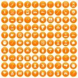 100 phobias icons set orange. 100 phobias icons set in orange circle isolated vector illustration Royalty Free Illustration