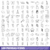 100 phobias icons set, outline style. 100 phobias icons set in outline style for any design vector illustration Royalty Free Stock Images
