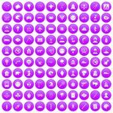 100 phobias icons set purple. 100 phobias icons set in purple circle isolated vector illustration Royalty Free Stock Photo