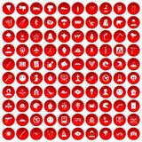 100 phobias icons set red. 100 phobias icons set in red circle isolated on white vectr illustration Royalty Free Illustration