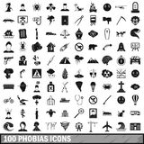 100 phobias icons set, simple style. 100 phobias icons set in simple style for any design vector illustration royalty free illustration