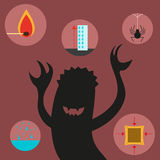 Phobias. Vector illustration. Stock Photos