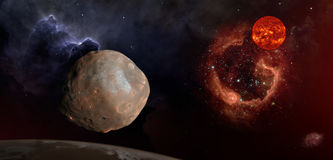 Phobos in de ruimte over Mars Stock Foto