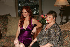 Phoebe Price. And Sharon Tirabasso on the set of a television commercial for 'Lotion Glow'. Private Location, Los Angeles, CA. 11-09-06 Royalty Free Stock Images