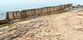 The Phoenecian Sea Wall at Batroun, Lebanon royalty free stock photography