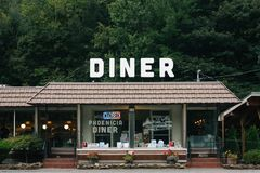 The Phoenicia Diner, in Phoenicia, in the Catskill Mountains, New York.  royalty free stock photos