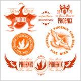 Phoenix - διανυσματικό σύνολο λογότυπου πουλιών και φλογών πυρκαγιάς ελεύθερη απεικόνιση δικαιώματος
