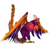 Phoenix. 3D rendered fantasy phoenix bird on white background isolated Stock Photography