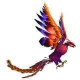 Phoenix. 3D rendered fantasy phoenix bird on white background isolated Royalty Free Stock Image