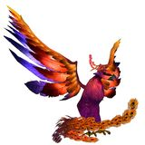 Phoenix. 3D rendered fantasy phoenix bird on white background isolated Stock Image