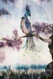 Phoenix. Watercolor fantasy  illustration of a mithological bird Royalty Free Stock Photo