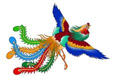 Phoenix. Chinese style on white background Stock Images