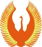 Phoenix. Bird with wings fireball colors Royalty Free Stock Photos