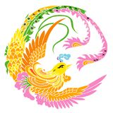 Phoenix. Illustration drawing of colorful phoenix Stock Images