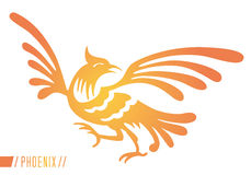 Phoenix. An abstract and modern yellow and orange representation of the mythical Phoenix, a rare bird, rising from the ashes, a rebirth and new start ancient Stock Images
