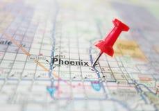 Phoenix Arizona map. Closeup of Phoenix Arizona map with red tack royalty free stock images