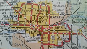Phoenix, Arizona Map. Map of Phoenix and surrounding cities stock photos
