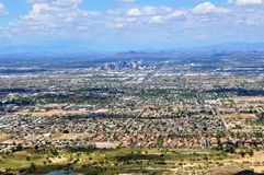 Phoenix Arizona sky line. From the Ridge of South Mountain Stock Photography
