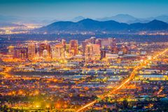 Phoenix, Arizona, USA Cityscape. Phoenix, Arizona, USA downtown cityscape at dusk royalty free stock photo