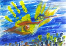 Phoenix bird above the city. Abstract hand painted oil picture of Phoenix bird hovering above the city Stock Images
