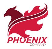 Phoenix bird or fantasy eagle logo template for security or innovation company. Stock Photo
