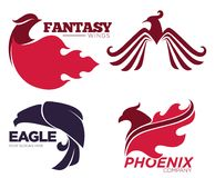 Phoenix bird or fantasy eagle logo templates set. For security or innovation company. Vector isolated icons of mythic firebird spread wings symbol, flame fire Royalty Free Stock Photography