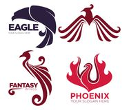Phoenix bird or fantasy eagle logo templates set for security or innovation company. Vector isolated icons of mythic firebird spread wings symbol, flame fire Stock Images
