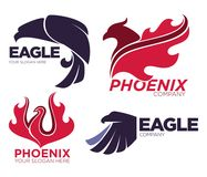 Phoenix bird or fantasy eagle logo templates set for security or innovation company. Vector isolated icons of mythic firebird spread wings symbol, flame fire Royalty Free Stock Photos