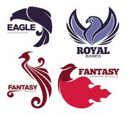 Phoenix bird or fantasy eagle logo templates set for security or innovation company. Vector isolated icons of mythic firebird spread wings symbol, flame fire Stock Image