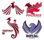 Phoenix bird or fantasy eagle logo templates set for security or innovation company. Vector isolated icons of mythic firebird spread wings symbol, flame fire Stock Photography