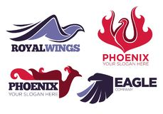 Phoenix bird or fantasy eagle logo templates set for security or innovation company. Vector isolated icons of mythic firebird spread wings symbol, flame fire Royalty Free Stock Photo