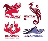 Phoenix bird or fantasy eagle logo templates set for security or innovation company. Vector isolated icons of mythic firebird spread wings symbol, flame fire Royalty Free Stock Images