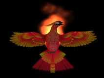 Phoenix Bird Fire. The Phoenix Bird is a symbol of new beginnings and rising from ashes of its previous demise Royalty Free Stock Image