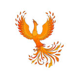 Phoenix. Bird isolated on white. A symbol of immortality and renewal Royalty Free Stock Photo