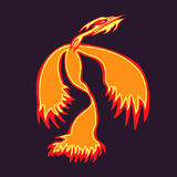 Phoenix. Bird rising from the ashes. Flaming Magic Fairy Bird.  bird  template.  az.Flying , logo, rebirth symbol. Luxury creative Logotype icon, tattoo. Vector Stock Photo