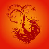 Phoenix bird. Silhouette of phoenix bird. Red fenix. Symbol of immortality. Fiery bird. Template for cut of laser or engraved. Stencil for paper, plastic, wood Royalty Free Stock Images