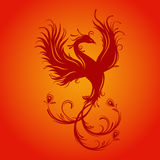 Phoenix bird. Silhouette of phoenix bird. Red. Symbol of immortality. Fiery bird. Template for cut of laser or engraved. Stencil for paper, plastic, wood, laser Stock Photography