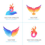 Phoenix Birds And Fire Icons Royalty Free Stock Photos