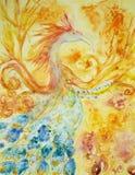 Phoenix in brand en vlam stock illustratie